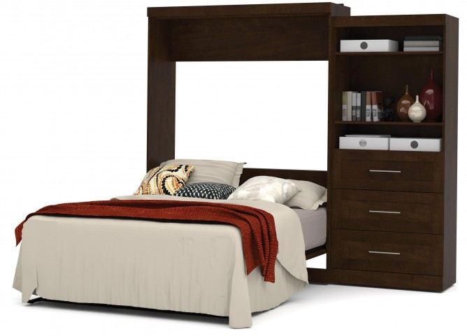 "Pur Chocolate 101"" Queen Wall Drawer Storage Bed"