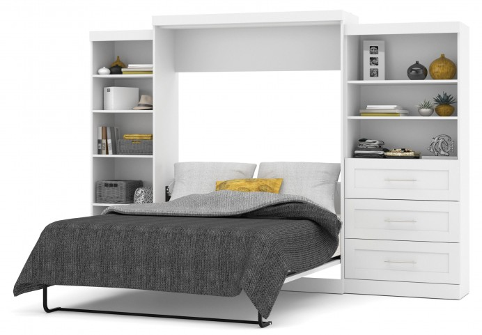 "Pur White 126"" Queen Wall Extra Storage Bed"