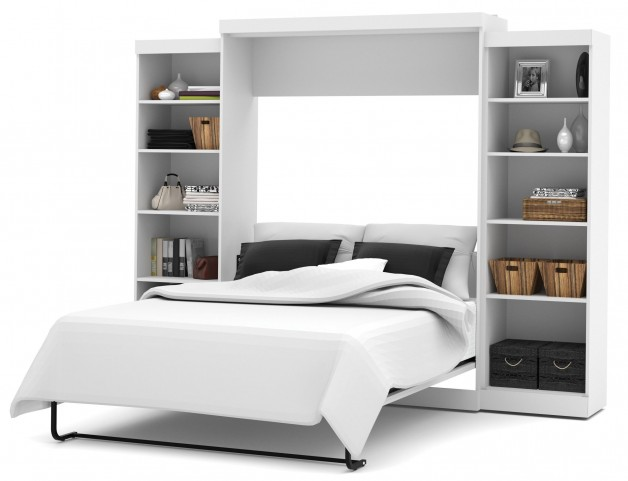 """Pur White 115"""" Queen Wall Storage Bed"""