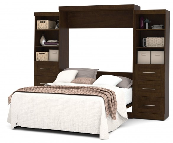 """Pur Chocolate 115"""" Queen Wall Drawer Storage Bed"""