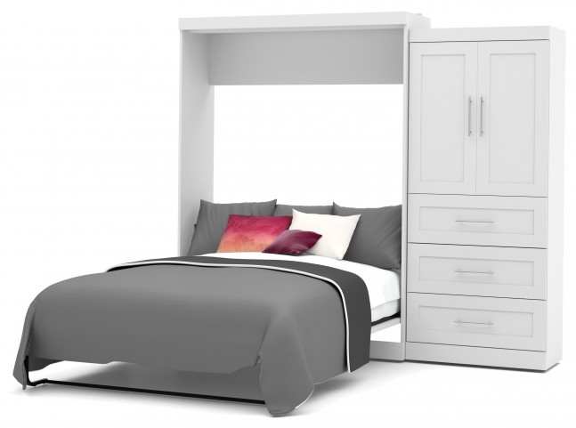 "Pur White 101"" Queen Wall Storage Bed"