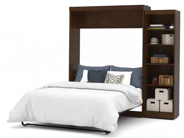 """Pur Chocolate 90"""" Queen Wall Storage Bed"""