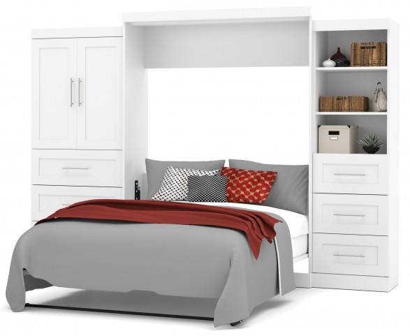 "Pur White 126"" Queen Wall Storage Bed"