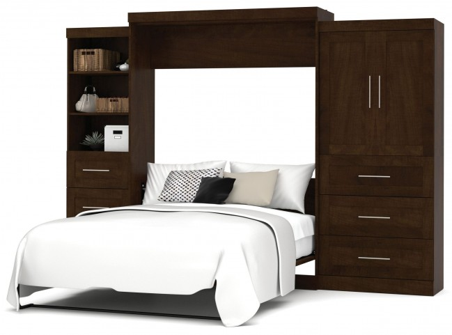 "Pur Chocolate 126"" Queen Wall Storage Bed"