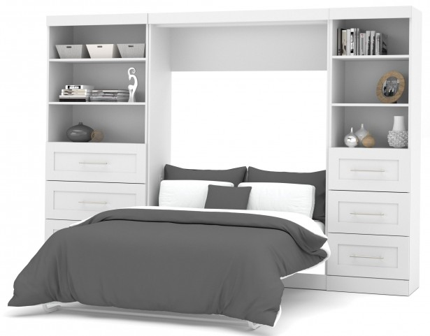 """26890 Pure White 120"""" Drawer Full Wall Bed"""