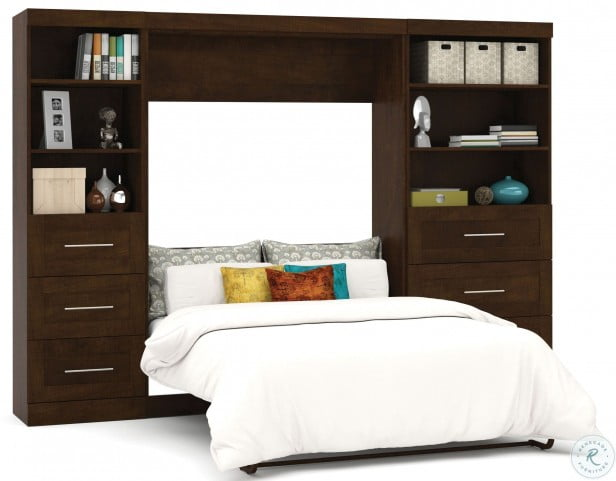 """Pur Chocolate 120"""" Drawer Full Wall Bed"""