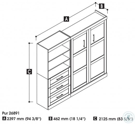 """26891 Pure White 95"""" Drawer Full Wall Bed"""