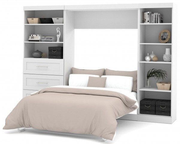 """Pure White 120"""" Full Wall Bed With Left Side Drawers"""