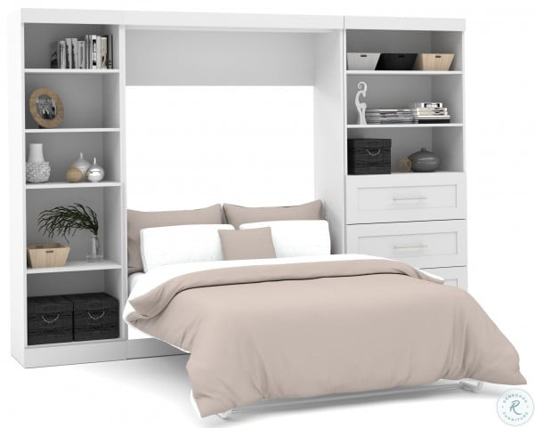 "Pure White 120"" Full Wall Bed With Left Side Drawers"