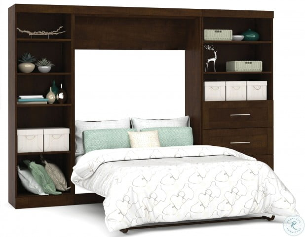 """Pur Chocolate 120"""" Full Wall Bed With Left Side Drawers"""