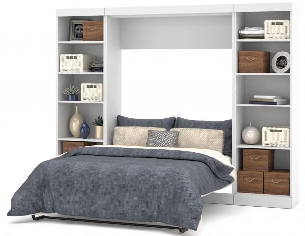 """Pure White 109"""" Euro Slat Mattress Open Storage Full Wall Bed"""