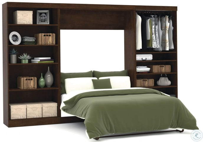 """Pur Chocolate 131"""" Open Storage Full Wall Bed"""