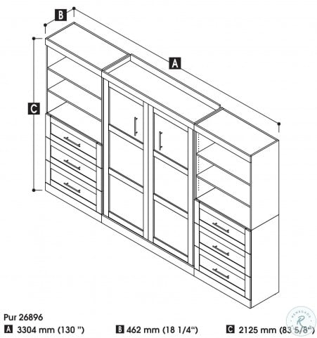 """Pur Chocolate 131"""" Drawer Full Wall Bed"""