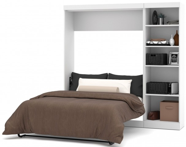 "Pure White 84"" Open Storage Leg down  Full Wall Bed"