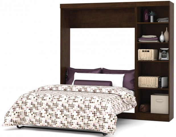 "Pur Chocolate 84"" Open Storage Full Wall Bed"