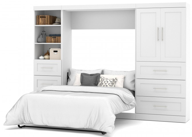 "Pure White 120"" Door Full Wall Bed"