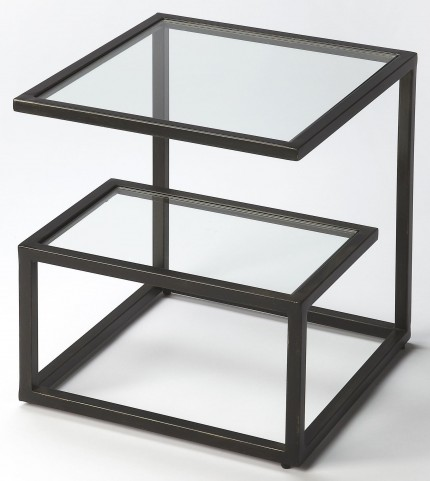Mallory Black Metal & Glass Bunching Table