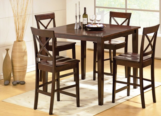 Cobalt Espresso 5 Piece Counter Height Dining Set