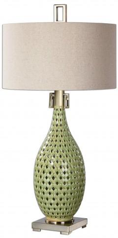 Chamoru Green Glaze Lamp