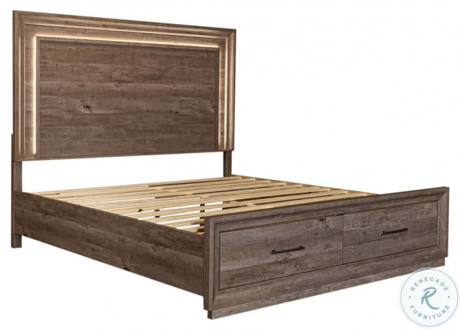 Horizons Graystone King Storage Panel Bed
