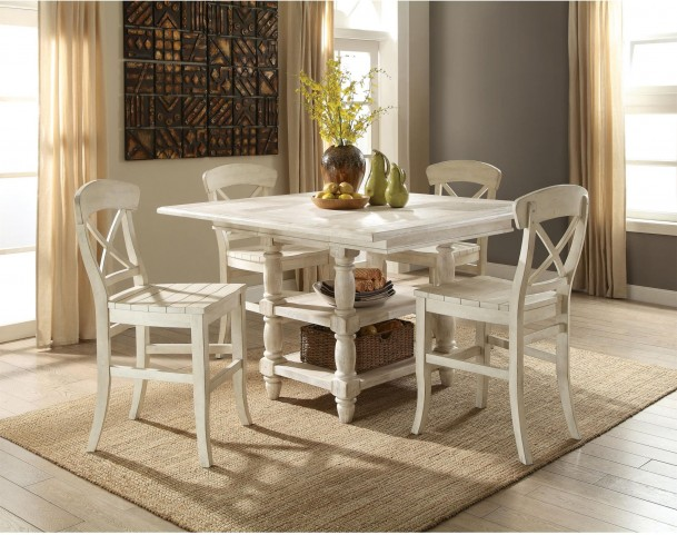 Regan Farmhouse White Extendable Counter Height Dining Room Set From