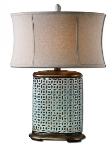 Rosignano Crackled Blue Table Lamp
