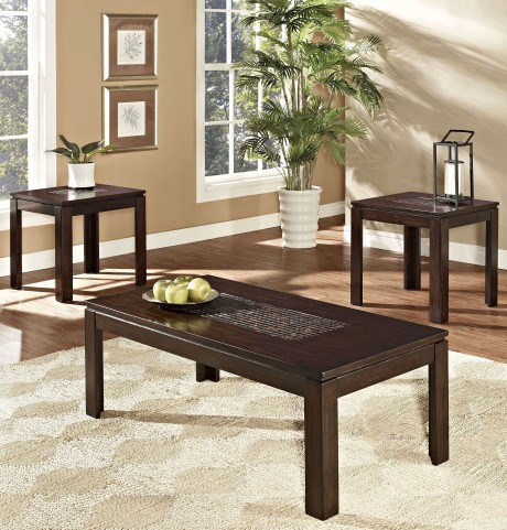Sparkle Multi-Hued Brown And Gold 3 Piece Occasional Table Set