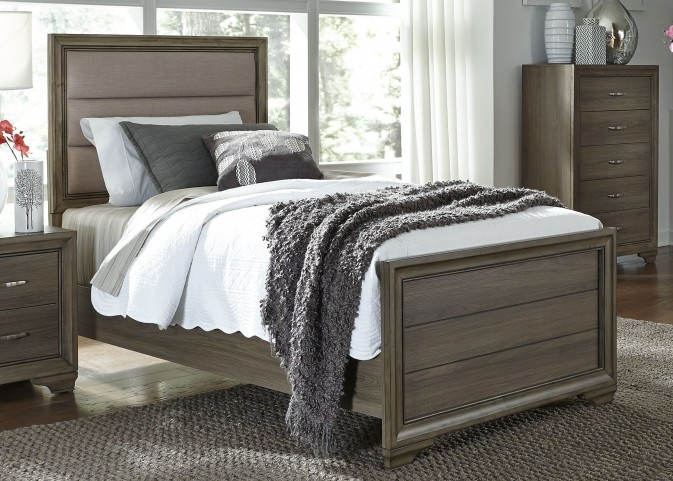 Hartly Gray Wash Twin Upholstered Panel Bed