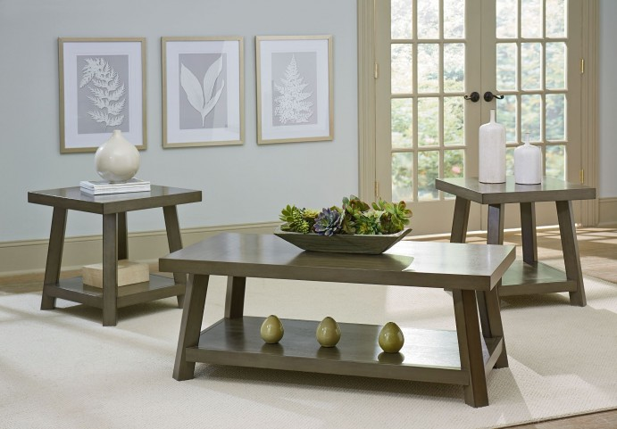Omaha Rustic Weathered Grey Wood 3 Piece Occasional table set