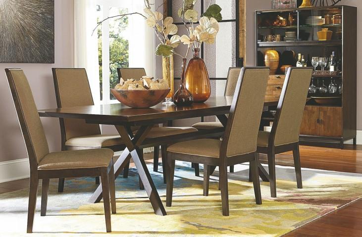 Kateri Hazelnut Extendable Trestle Dining Room Set