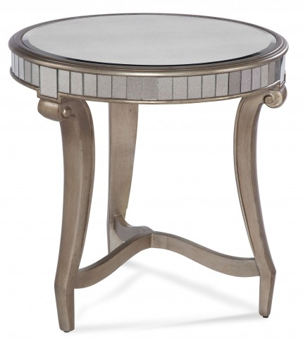Celine Real Silver Leaf Round End Table