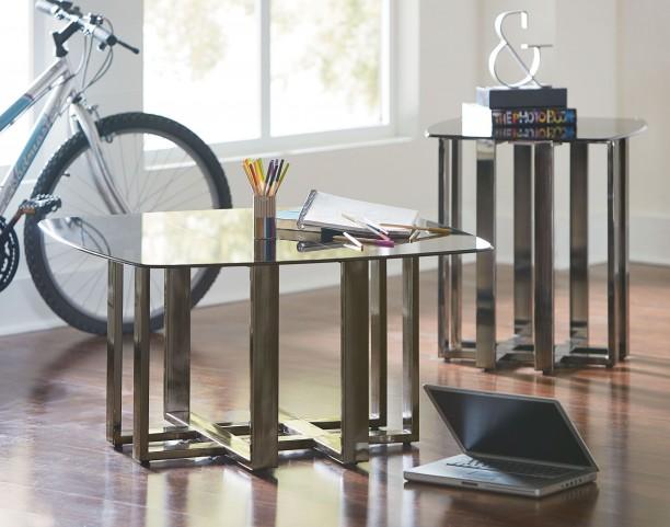 Hashtag Black Chrome Metal Occasional Table Set