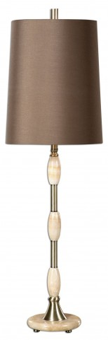 Richland Ivory Marble & Brass Lamp