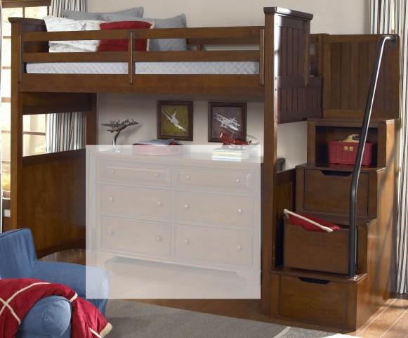 Dawsons Ridge Twin Size Open Loft with Storage Steps