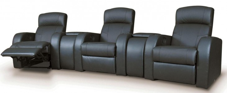 Cyrus Black Leather Match Three-Seat with Wedges Home Theater Set