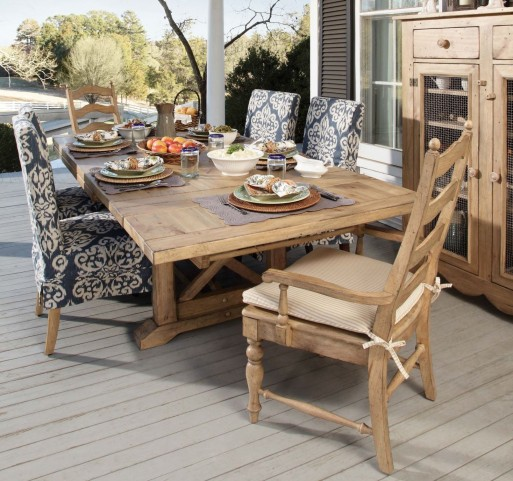 Homecoming Vintage Pine Refectory Extendable Trestle Dining Room Set