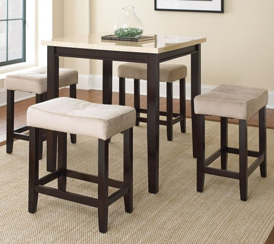 Aberdeen Faux marble 5 Piece Counter Height Dining Set