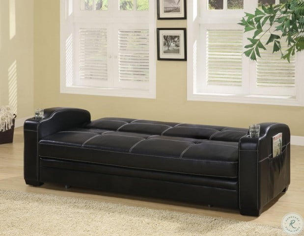 Superb Faux Leather Sofa Bed With Storage And Cup Holders Machost Co Dining Chair Design Ideas Machostcouk