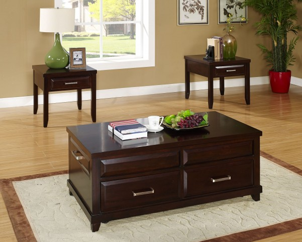 Naples Distressed Walnut Occasional Table Set
