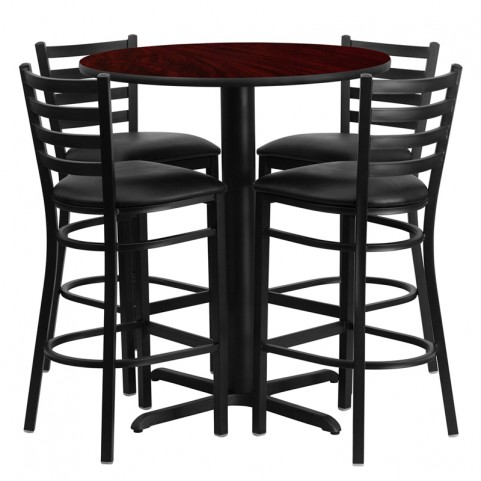 "30"" Round Mahogany Table Set with Ladder Back Black Vinyl Bar Stool"