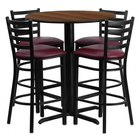 "30"" Round Walnut Table Set with Ladder Back Burgundy Vinyl Bar Stool"