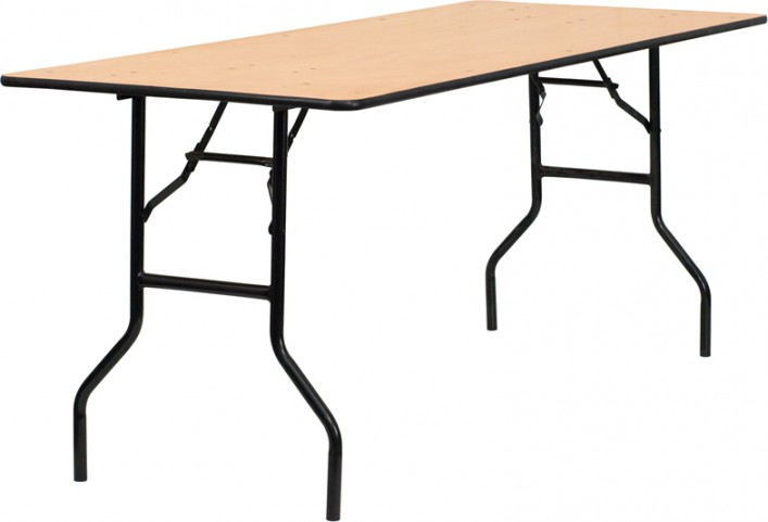 "72"" Rectangular Wood Folding Banquet Table"