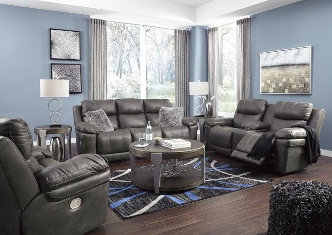 Erlangen Midnight Power Reclining Living Room Set with Adjustable Headrest