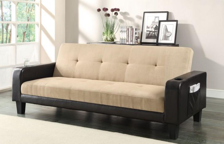 300295 Khaki/Brown Sofa Bed