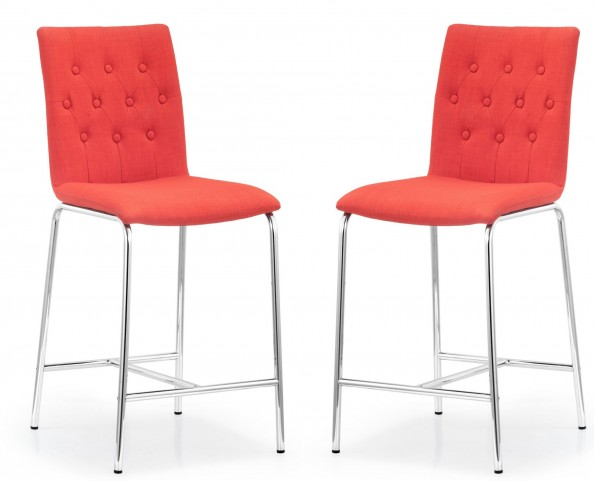 Uppsala Tangerine Fabric Counter Chair Set of 2