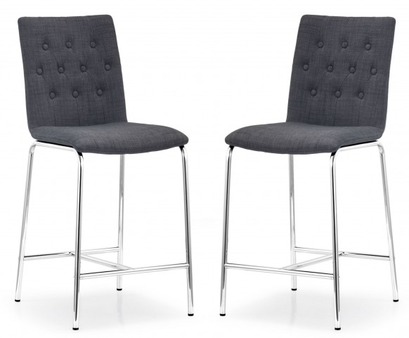 Uppsala Graphite Fabric Counter Chair Set of 2