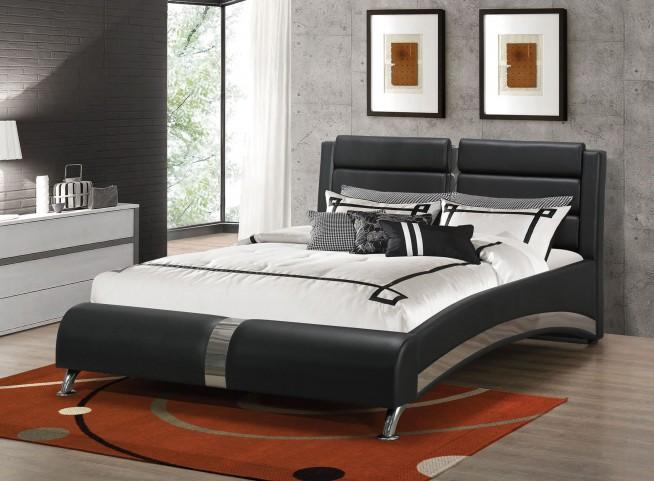 Jeremaine Black Queen Upholstered Platform Bed