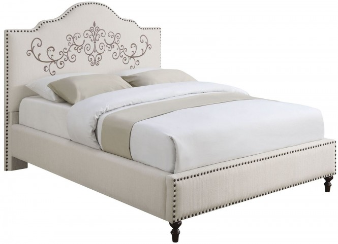 Homecrest Cream Upholstered Queen Platform Bed