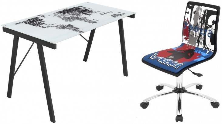 Graphic Top World Map Home Office Set