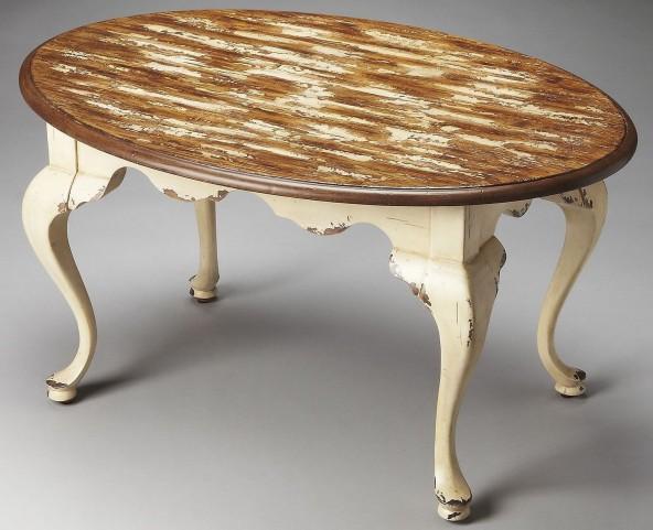 Grace Artists' Originals Farmhouse White Oval Cocktail Table